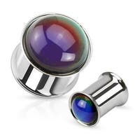Mood Stone Dome Over Double Flared Plug 316L Surgical Steel (Sold Individually)