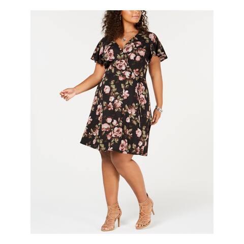 BCX Womens Black Printed Short Sleeve V Neck Above The Knee Faux Wrap Dress Plus Size: 1X