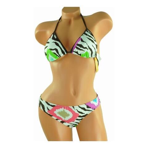 Raisins Womens Reversable Lowrider 2 Piece Bikini, brown, Small