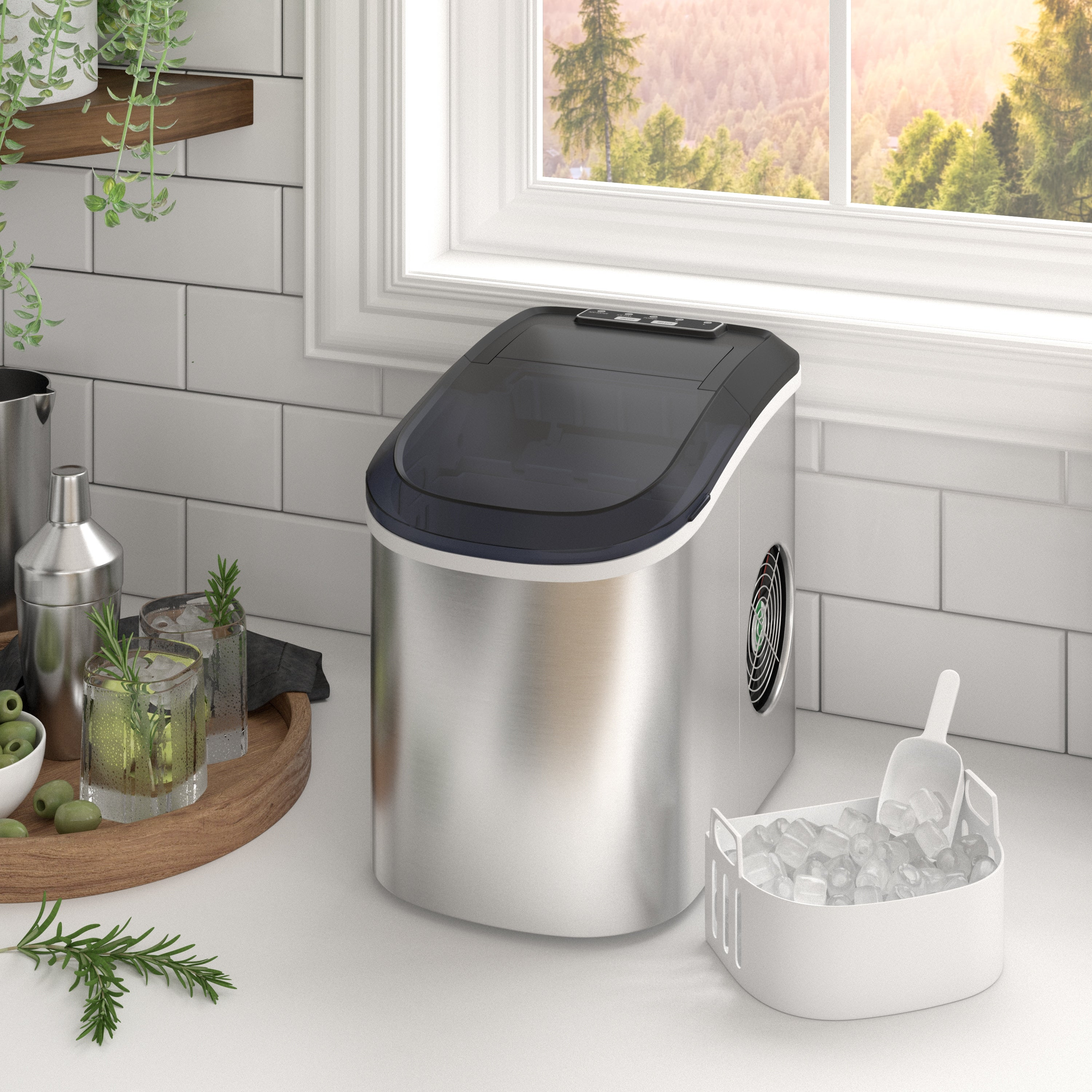 Countertop Ice Maker Machine 9 Ice Cubes Ready In 6 Mins Makes 26 Lbs Ice In 24 H Electric Portable Ice Making Machine Overstock 31636950