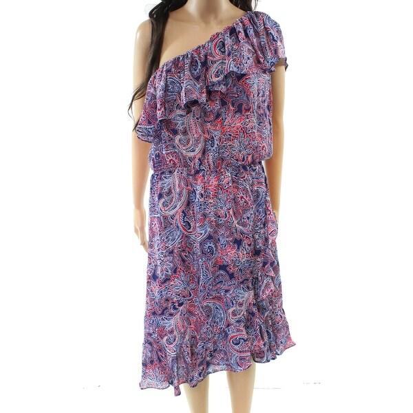 Parker Red Paisley Print One-Shoulder Medium Dress Silk