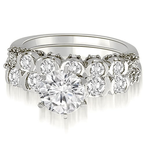 2.23 cttw. 14K White Gold Round Cut Diamond Bridal Set