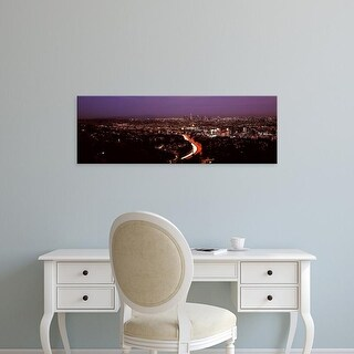 Easy Art Prints Panoramic Images's 'City lit up at night, Los Angeles, Los Angeles County, California' Canvas Art
