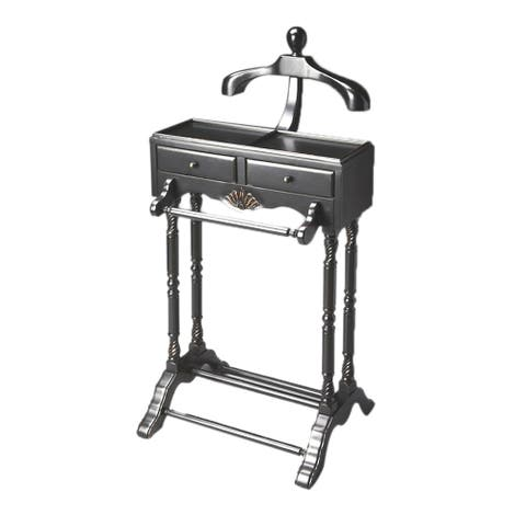 "Offex Traditional Wooden Valet in Black Licorice Finish, 22""W x 17.5""D x 46.25""H"