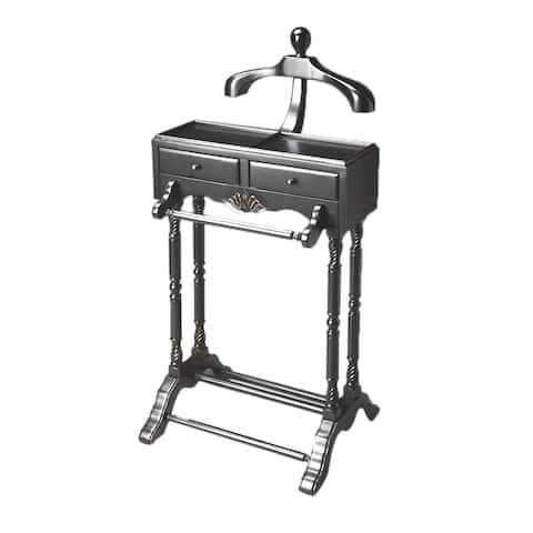 "Traditional Wooden Valet in Black Licorice Finish, 22""W x 17.5""D x 46.25""H"