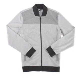 Alfani NEW Gray Mens Size Medium M Colorblock Full Zip Twill Jacket