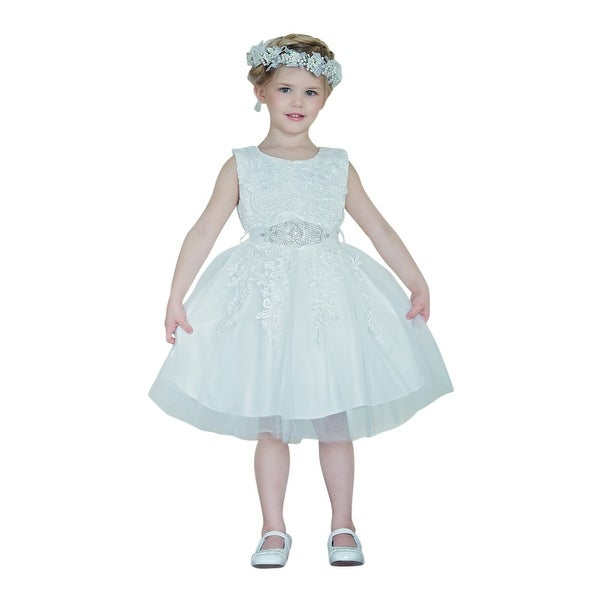 Think Pink Bows Baby Girls Off-White Applique Victoria Flower Girl Dress 1Y