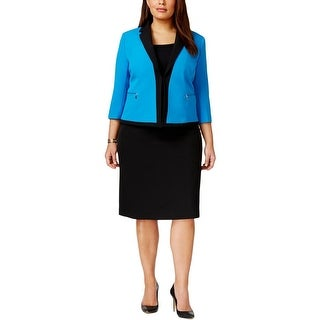 Tahari ASL Womens Plus Darryl Skirt Suit Open Front 3/4 Sleeves