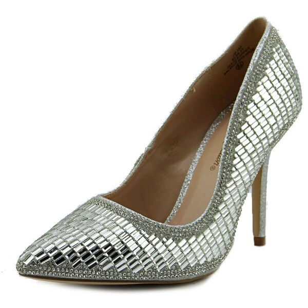 De Blossom Collection Elsa Women Pointed Toe Synthetic Silver Heels