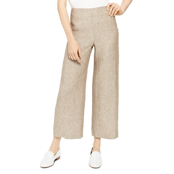 Theory Womens Wide Leg Pants Linen Cropped - Multi