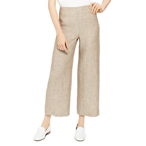 Theory Womens Wide Leg Pants Linen Cropped - Multi