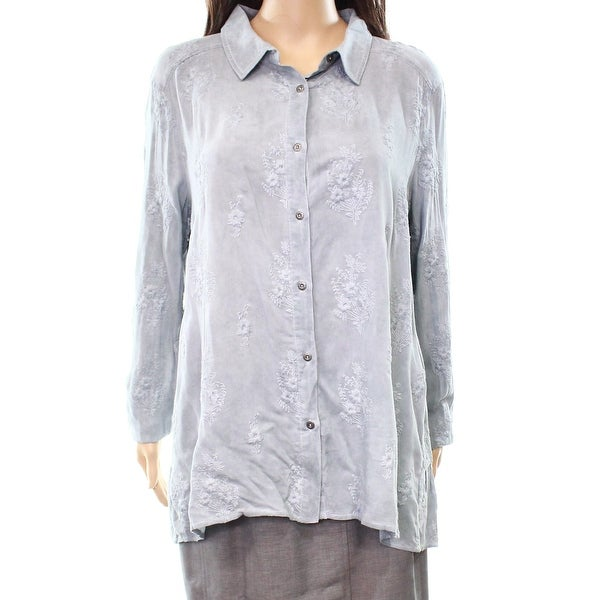 800532525 Shop Miss Me NEW Gray Women's Large L Embroidered Floral Button Down Shirt  - Free Shipping On Orders Over $45 - Overstock - 20420531