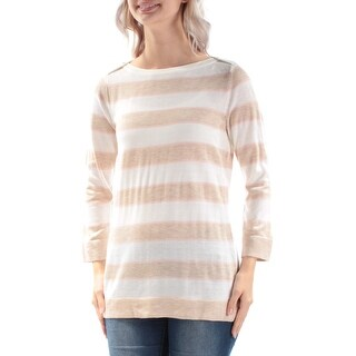 Womens Ivory Beige 3/4 Sleeve Jewel Neck Casual Sweater Size S