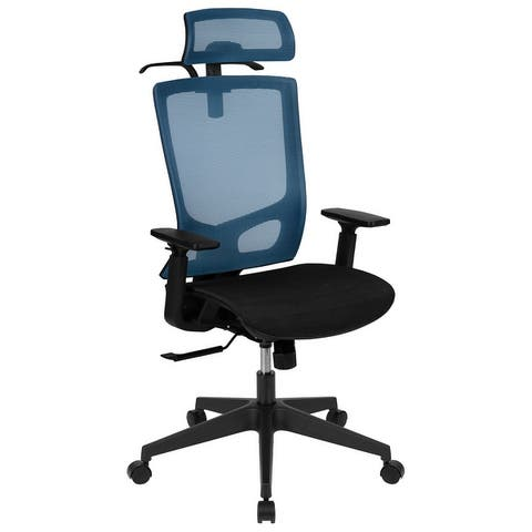 Ergonomic Mesh Office Chair with Synchro-Tilt, Pivot Headrest, Adjustable Arms