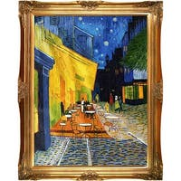 Cafe Terrace at Night by Vincent Van Gogh Framed Hand Painted Oil on Canvas