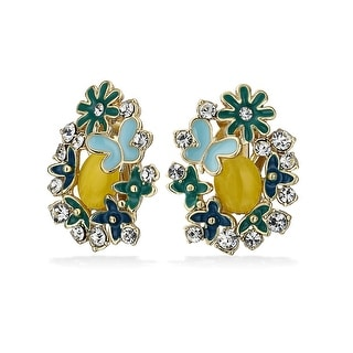 Bling Jewelry Imitation Yellow Cats Eye Flower Clip On Earrings Gold Tone