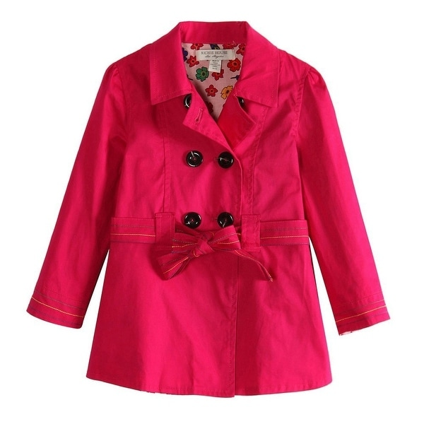 81456499289e Shop Richie House Girls Pink Floral Lining Fabric Trench Coat 10 ...