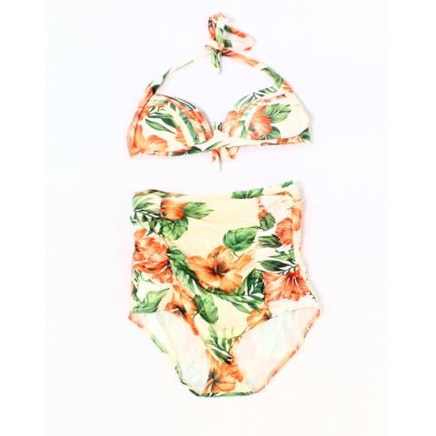 Cocoship Pink Green Womens Size Medium M Bikini Floral Swimwear