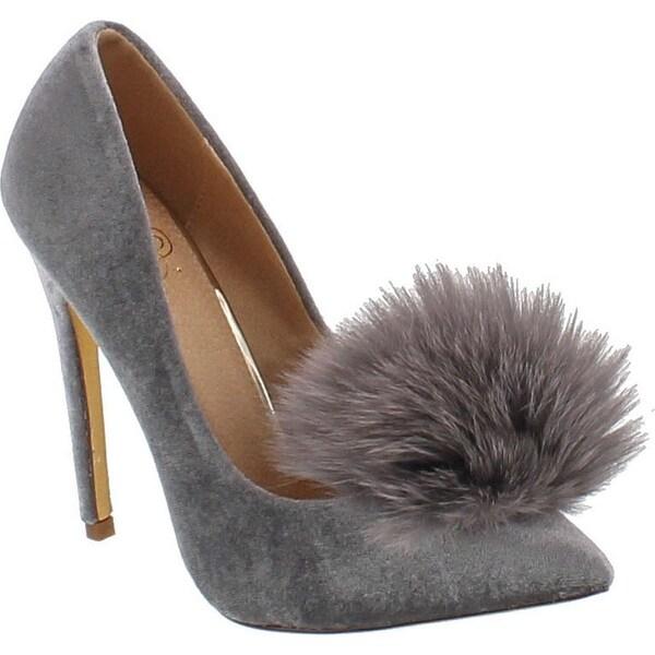 Liliana Affair Velvet Pointy Toe Stiletto High Heel Fur Pom Slip On Pump Slide Shoe Gray