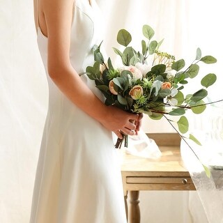"Wedding Bouquet Mixed Rose in Eucalyptus Bridal Bouquet 14"" Tall - Green/Pink"
