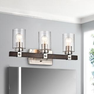 Link to Brushed Nickel and Wood 3-Light Vanity with Seedy Glass Sconces - Brushed Nickel and Wood Similar Items in Bathroom Vanity Lights