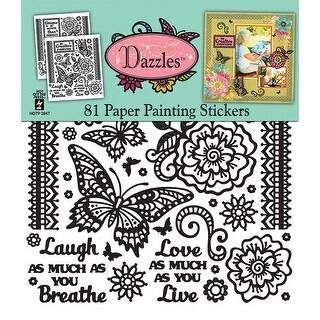 """Dazzles Stickers 8""""X9"""" 2/Pkg-Paper Painting-Black, Clear Foil"""