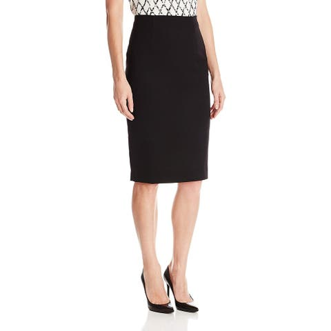 Ellen Tracy Womens Skirt Black Size 10P Petite Straight Pencil Stretch