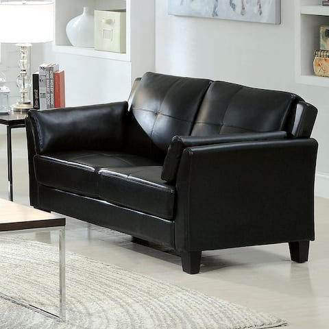 Furniture of America Sier Contemporary Faux Leather Padded Loveseat