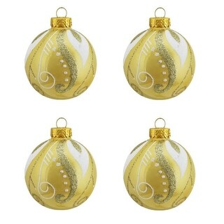 """4ct Pearl Yellow Gold with Glitter Swirl & Leaf Design Glass Ball Christmas Ornaments 2.5"""" (65mm)"""