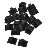Unique Bargains 20 x Black Plastic Wire Holder 10mm Cable Tie Mount Base WCC-2B