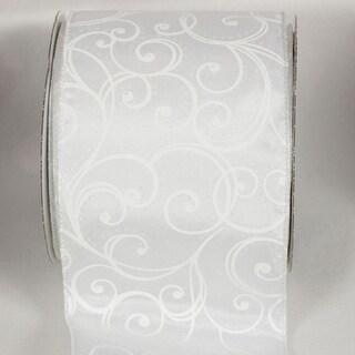 "Sheer White Wedding Swirl Wired Craft Ribbon 4"" x 20 Yards"