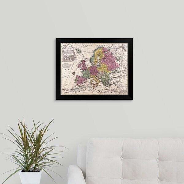 """Map of Europe"" Black Framed Print"