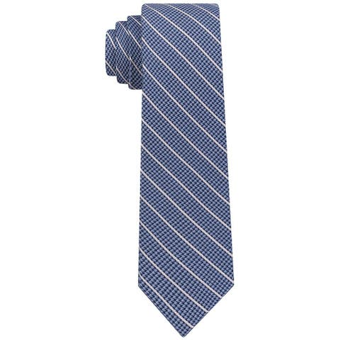 DKNY Men's Pillar Stripe Slim Tie Blue Necktie