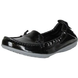 Hush Puppies Women Ceil Slip On Flats-Shoes - Black Patent
