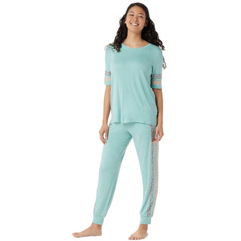 Cuddl Duds Womens Smooth Jersey Print Mix Pajama Set Medium Aqua Mist A346889