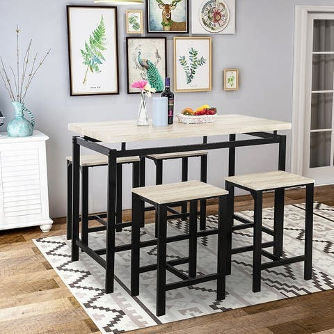 Moda Dining Table with 4 Chairs,5 Piece Dining Set with Counter and Pub Height