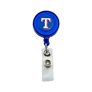 Texas Rangers Retractable Badge Reel Id Ticket Clip MLB Blue
