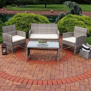 Sunnydaze Lomero 4 Piece Patio Furniture Set with Wicker Rattan & Beige Cushions