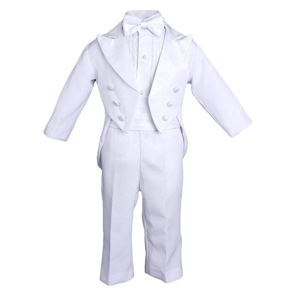 e491902e2 Baby Boys White 5 Pcs Shirt Jacket Pants Bow Tie Cummerbund Tuxedo Set