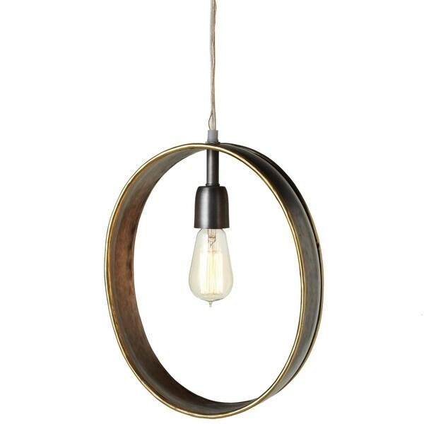 """13.75"""" Bronze Colored Galvanized Finish Decorative Oval Pendant with Gold Edge"""