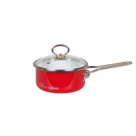 STP Goods 1.6 Qt Bon Appetit Enamel on Steel Red Saucepan w/Glass Lid