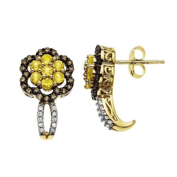 Natural Yellow Sapphire & 1/3 ct Champagne & White Diamond Flower Earrings in 14K Gold