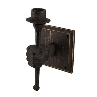 Helping Hand Holding Torch Vintage Finish Cast Iron Wall Sconce