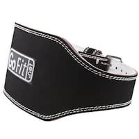 "GoFit 6"" Padded Etched Leather Weight Lifting Belt - Gray/Black"
