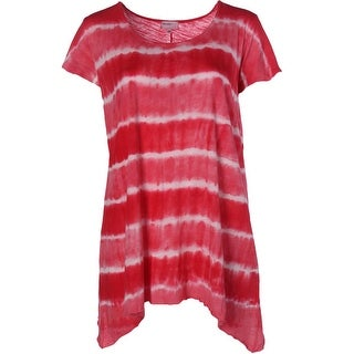 Allen Allen Womens Plus Cotton Short Sleeves Tunic Top