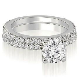 1.76 cttw. 14K White Gold Round Cut Diamond Bridal Set