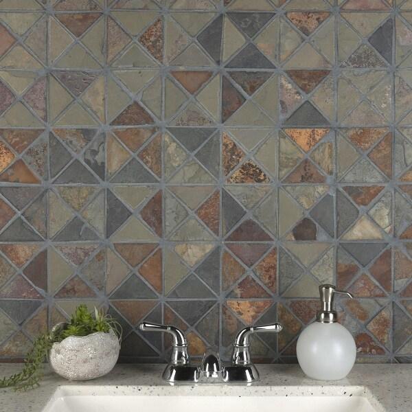 "SomerTile Crag TriSquare Sunset Slate 12"" x 12"" x 10 mm Natural Stone Mosaic Tile (5 tiles/5.11 sqft.). Opens flyout."