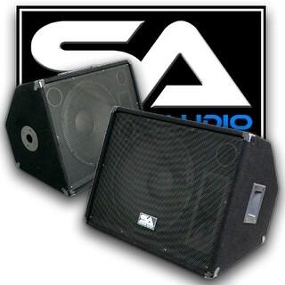 "Seismic Audio PAIR 15"" Floor Monitors Stage/Studio PRO PA/DJ Speakers"