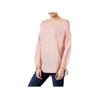 Michael Kors Womens Petites Blouse Stripe Smocked - pm