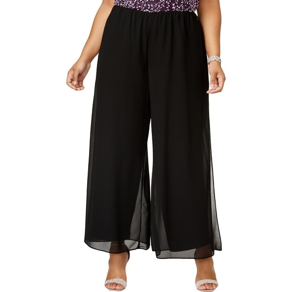 4b6ff477af4 Shop Alex Evenings Womens Plus Wide Leg Pants Chiffon Solid - Free Shipping  On Orders Over  45 - Overstock.com - 27286345